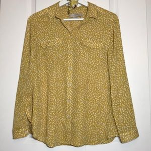 LOFT Petites Mustard Button-Down Floral Blouse, MP